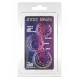 Anéis de Erecção Stay Hard Roxos 3un