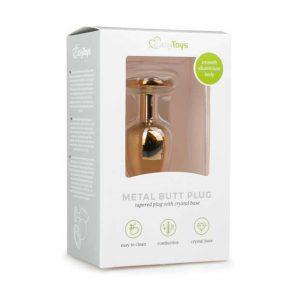 Plug Anal Metálico com Cristal Dourado & Transparente