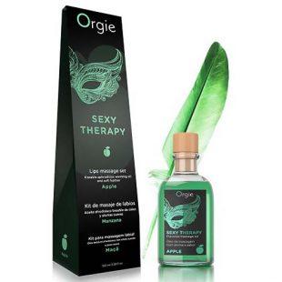 Óleo de Massagem Afrodisiaco com Efeito Calor Orgie Sexy Therapy Lips Massage Set Maça 100ml
