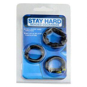 Anéis de Erecção Stay Hard Pretos 3un