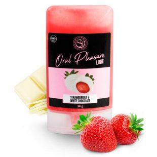 Lubrificante Comestível Oral Pleasure Morango & Chocolate Branco 34g