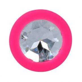Plug Anal em Silicone Rosa com Cristal