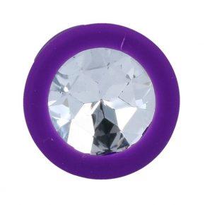 Plug Anal em Silicone Roxo com Cristal