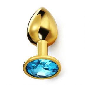 Plug Anal Metálico Dourado com Cristal Azul S
